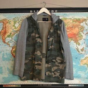 Jackets & Blazers - Grunge Hooded Camo Jacket